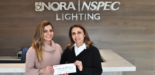 Nora Lighting Team Presents Holiday Donation to American Red Cross for Wildfire Relief
